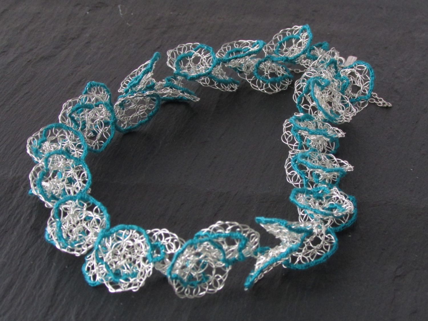 Crochet Silver necklace with Jade thread